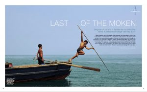 "Cover spread for ""Last Days of the Moken"" in June 2014 issue of Islands."