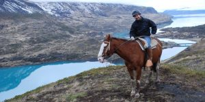 The author on horseback in Patagonia's Torres del Paine national park.